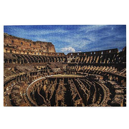 Puzzle Bildrätsel 1000 Stück,Interne Struktur des Kolosseums Italien Alte Rom Arena Oval Gladiator Runis Altes historisches Gebäude,Lustiges Familienspiel Hängende Heimdekoration,29.5' x 19.7'