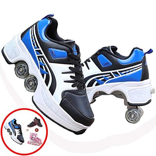 SHANGN Patín En Línea Zapatos Multiusos 2 En 1 Zapatos para Niños con Ruedas De Skate con Ruedas Deportivos para Correr Zapatillas con Ruedas Niños Niños Niñas,K-39