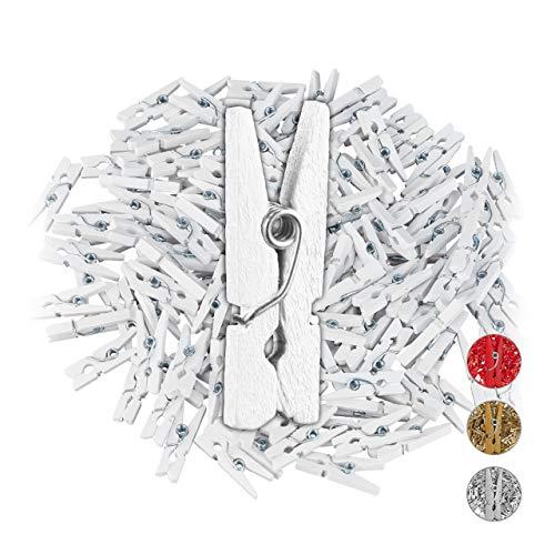 Relaxdays Houten wasknijpers Mini, 144-delige set, bruiloften, feesten, foto's ophangen, geschenken versieren, knutselen…