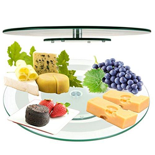 Plato giratorio de cristal de 45 cm para servir queso o