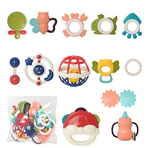13pcs Rassel Beißring Set Baby Spielzeug Shaker Greifen Rassel Baby Kleinkind Spielzeug Frühe Lernspielzeug für 3 6 9 12 Monate Jungen Mädchen Baby Geschenke