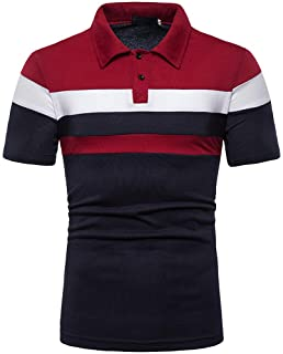 kolila Men's Polo T Shirt Fashion Stripe Contrast Color Short Sleeve Slim Fit Shirts Casual Basic Designed Cotton Shirts