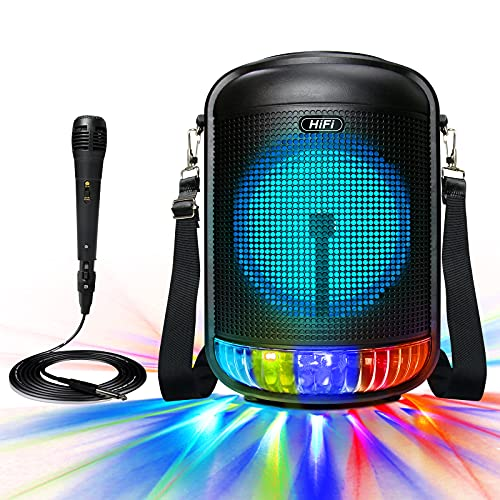 """Bluetooth Speaker with Karaoke Machine,RESLTALY 100W Portable Karaoke Speaker for Adults & Kids,5.0 Singing System with Mic,6.5"""" Subwoofer,DJ Light,TWS, Louder/AUX/USB/TF/FM, Family Outdoor Party."""