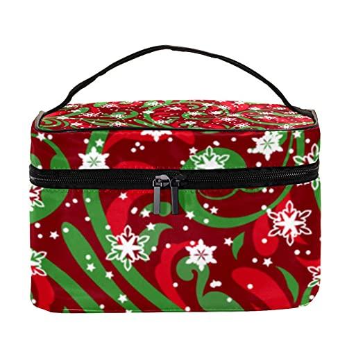 Bolsa de maquillaje de viaje con patrón de botella de nieve de Navidad, bolsa de maquillaje, organizador de bolsas de aseo con cremallera para mujeres y niñas