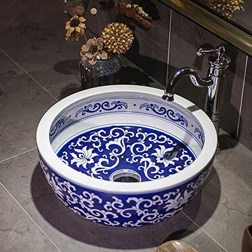 Slivy Vintage über Gegen Runde Keramik Badezimmer-Behälter-Wannen, Kunst Aufsatz- Porzellanschüssel Bemalte Blaue und weiße Muster Waschbecken for Toilette Eitelkeitschrank, 16-Zoll