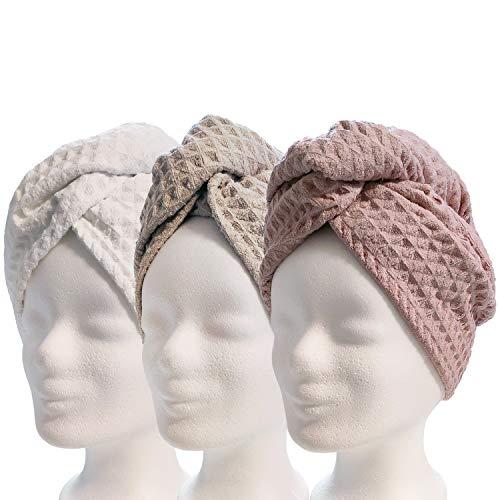 Lead Care Haarturban, Turban, Haartrockentuch, 3er Set - schnell trocknendes Mikrofaser Trockentuch mit Knopf (3er Set weiß, Creme, rosa)