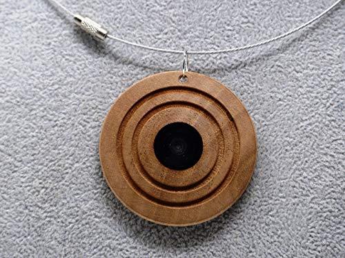Woodenarts Kette aus Edelstahl mit Holzanhänger aus Birnen Holz und Einlage aus Epoxidharz Länge Kette ca. 46 cm Anhänger Durchmesser ca. 5 cm