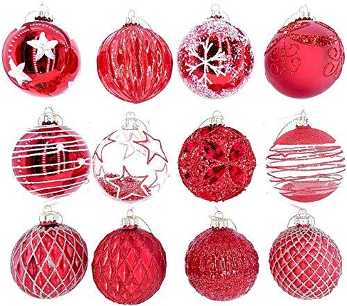 My-goodbuy24 12er Set Weihnachtskugeln Echtglas Glaskugeln Weihnachten weihnachtsdeko Christbaumkugeln Set M 8 cm rot