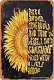 Cartel de metal con texto en inglés 'She Is A Girasol, de 20 x 30 cm, aspecto vintage, decoración para el hogar, cocina, baño, granja, jardín, garaje, citas inspiradoras, decoración de pared