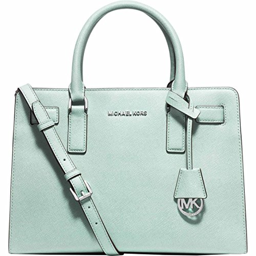 "Celadon saffiano leather w/ silver-tone hardware. Top zip closure. Hanging circle logo tag. Logo plate at top center. Double handles with 4.5"" drop; adjustable crossbody strap with 17.5"" to 19.5"" drop. Inside: one zip and two open pockets; key clip. ..."