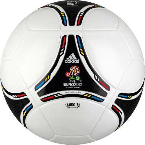 Adidas - Pallone da calcio 'Euro 2012 Top Replique', Bianco (white/black/process cyan/matallic silver), 5