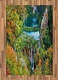 ABAKUHAUS Otoño Alfombra de Área, Caída Escénica Lagos del Valle, Tejida Acento Decorativo para Sala de Estar o Dormitorio, 120 x 180 cm, Verde Azul Naranja