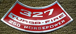 CHEVROLET 327 TURBO-FIRE 250 hp HORSEPOWER AIR CLEANER TOP LID DECAL STICKER NEW