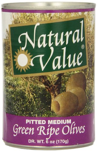 Natural Value Pitted Medium Green Ripe Olives, 6 Ounce Cans (Pack of 12)