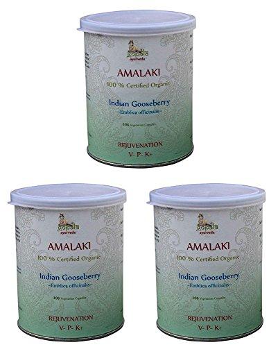 Amalaki Bio (108 Veg Kapseln - 3er pack) - AMLA (Emblica officinalis) 500mg je Kapsel - 100% Bio-zertifiziertes pflanzliches Nahrungsergänzungsmittel der Lacon GmbH