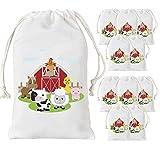 Animal Farm Party Party Bags Barnyard Treat Treat Goody Candy Bags para Fiesta de Cumpleaños Baby Shower Supplies 12 Pack