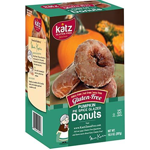 Katz Gluten Free Pumpkin Spice Glazed Donuts | Dairy Free, Nut Free, Soy Free, Gluten Free | Kosher (1 Pack of 6 Donuts, 10.5 Ounce)