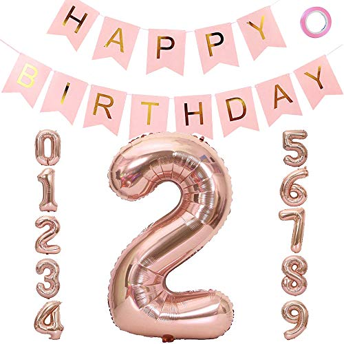 VDSOW Birthday Balloons, 40 inch Large Rose Gold Foil Helium Number Balloons 2, Pink Happy Birthday Banner Garland Mylar Foil Balloon Numbers for Kids Birthday Party Decorations