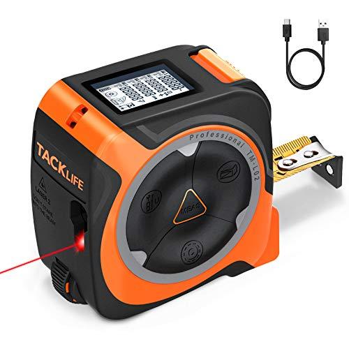 TACKLIFE Cinta Métrica Láser 3 en 1,Cinta 5m y Rueda 999.99m, Precisión Milimétrica, Pantalla digital LCD,Carga USB, Para Decoración y...