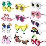 13 Piezas de Gafas de Sol de Fiesta, Gafas Divertidas Hawaianas para Verano, Divertidos Accesorios de Disfraces Tropicales de Verano,Suministros para Fiestas temáticas de Playa, decoración