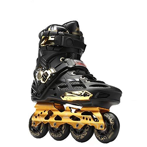 Inline Skates Adult Fancy Straight Männer und Frauen Full Flash Flat Bottom Anfänger Roller Schuhe,Black,41