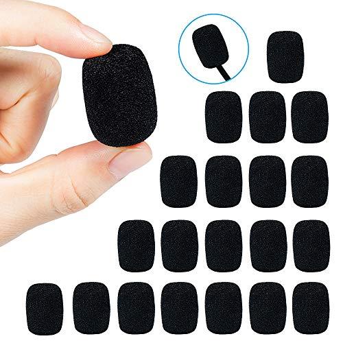 MOOKLIN ROAM 20 Piezas Pantallas Antiviento de Micrófono Auriculares de Solapa Mini Esponja de Parabrisas Espuma Micrófono color Negro