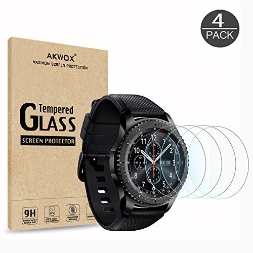 [4 Unidades] Protector de Pantalla para Gear S3 Frontier / Classic Akwox [9H Dureza] Cristal Vidrio Templado para Samsung Gear S3 (1.3 Inch ) Cristal Templado