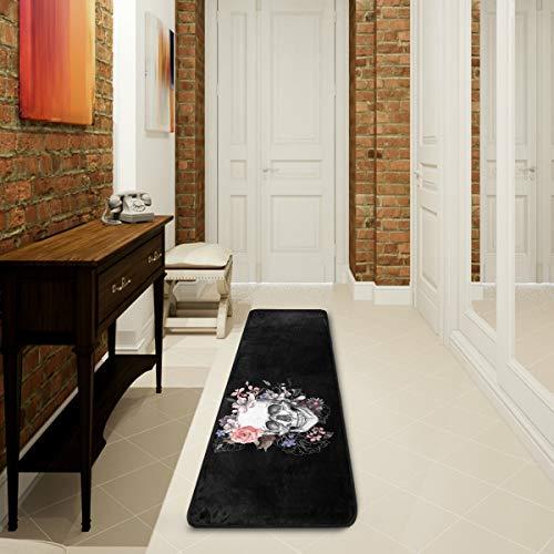 Mnsruu Sugar Skull Rose Flower Black Day of the Dead Collection Teppich für Wohnzimmer, Schlafzimmer, Küche, 61 cm x 182,88 cm