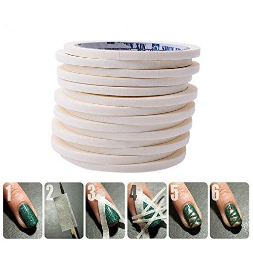 masrin 17 m * 0,5 cm French Maniküre Maniküre Tipps Kreative Nagelaufkleber Klebeband Dekoratives Nagelband (Weiß)