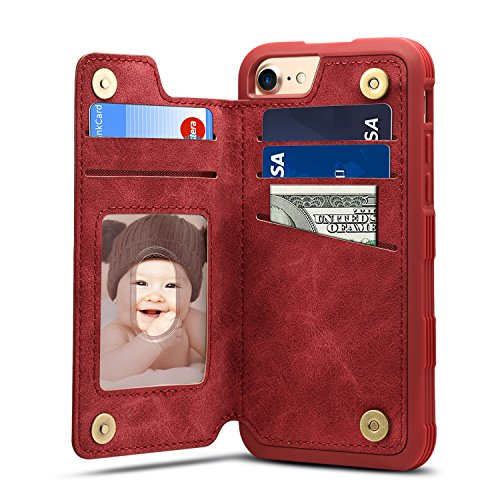 iPhone 8 Card Holder Case, iPhone 8 Wallet Case Slim, iPhone 8 Folio Leather case cover Shockproof Case with Credit Card Slot, Durable Protective Case for iPhone 8 (2017), iPhone 7 (2016) (Red)