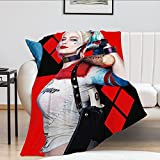DVESAL Harley Pretty Quinn Flannel Throw Blanket 3D Print Personalized Ultra Soft Fleece Throw Soft TV Bed Couch Blanket for Kids and Adults 80'X60'