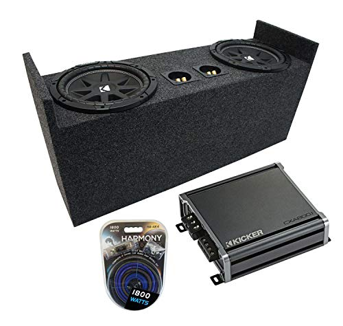 Compatible with 1987-2006 Jeep Wrangler YJ TJ Kicker Bundle Comp C10 Dual 10' Custom Sub Box Enclosure & CXA800.1 Amp