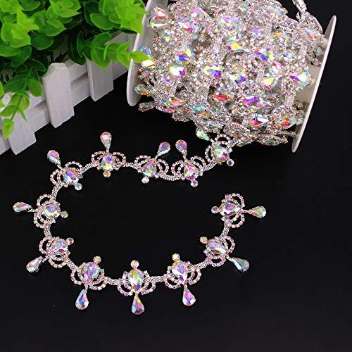 Phicmanlo 1 Yard AB Fringe Rhinestone Chain Trim Crown Shape Holographic Crystal Welding Trimming Belt Bridal Beaded Trim Applique (Silver AB)