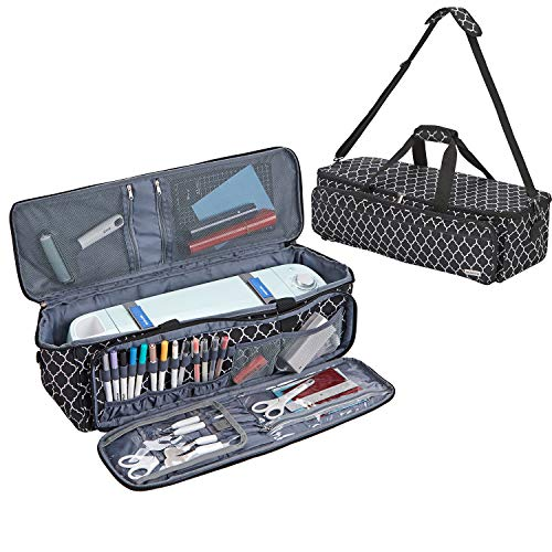 Yarwo Rolling Craft Tote Bag with Wheels Compatible with Cricut Maker Black Explore Air 2 Cameo 4 Double Layers Carrying Case for Die Cut Machine and Supplies