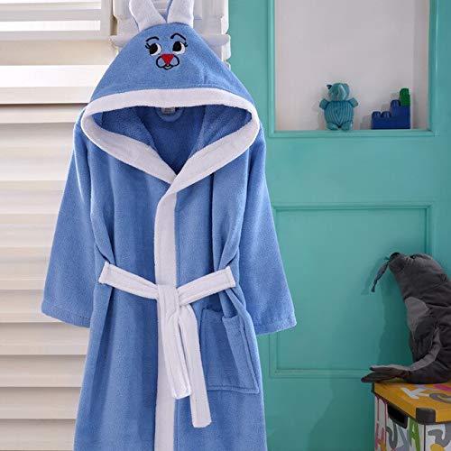 IAMZHL Albornoz 2-12 años Pijamas para niños para niñas Niños Ropa de Dormir para bebés Algodón con Capucha Bordado Invierno Niños Albornoces 6 colores-Blue-13-11