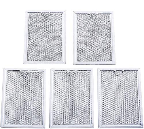 Ultra Durable WB06X10309 Microwave Oven Grease Filter 7-5/8 x 5 x 3/32 Inch Replacement part by Blue Stars – Exact Fit For GE & Kenmore Microwaves - Replaces 910457 AP3668752 PS228019 - PACK OF 5