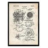 Nacnic Poster con Patente de Carrete de Pescar. Lámina con diseño de Patente Antigua en tamaño A3 y con Fondo Vintage