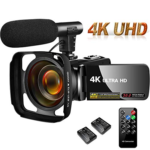4K Camcorder Video Camera,Vlogging Camera for YouTube 30MP Camcorder 3.0 Inch Touch Screen Night Vision Pause Function with Microphone