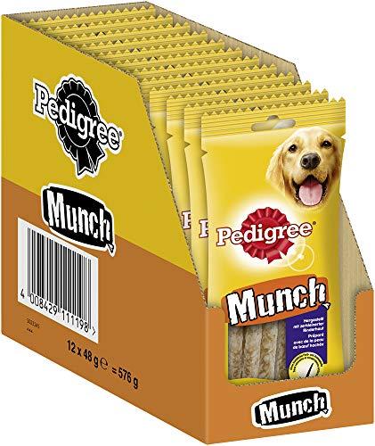 Pedigree Munch Kausticks – Hundesnack zur Stärkung der Kaumuskulatur – Ideal als Belohnung oder Beschäftigung – 12 x 48g