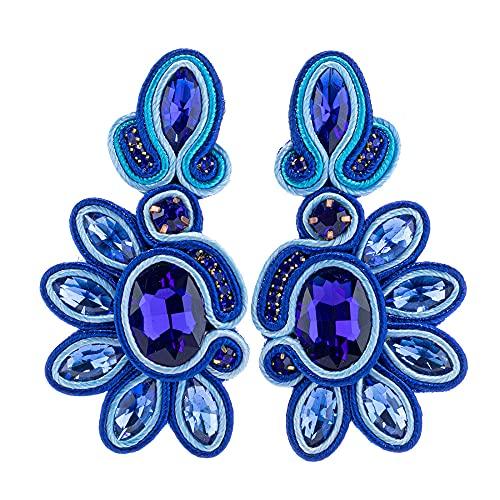 Pendientes Colgantes Pendientes Retro Hechos A Mano De Pedrería Azul Oscuro para Encantos De Mujer, Accesorios, Joyas De Moda Bohemias, Regalos del Día De La Madre