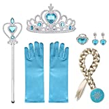 URAQT Princesa Disfraces con Accesorios, Accesorios de Princesa Disfraces, Princesa Vestir Accesorios Include Trenza/Tiara con Diamante/Magic Wand/Gloves/Necklace para Niña,Azul, 6PCS