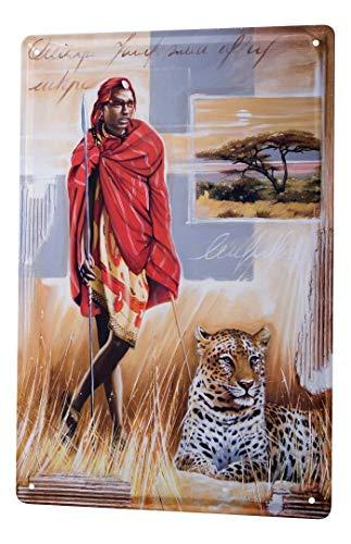 Blechschild Arkadiusz Warminski Bild Massai Mann Leopard Steppe Afrika Baum Speer 20x30 cm Metallschilder Deko