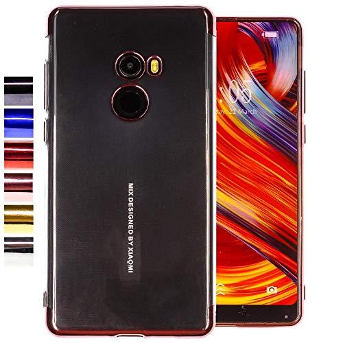 COOVY® Funda para Xiaomi Mi Mix 2 Ligera de silicio TPU, Ultrafina, Transparente con Bordes de Aspecto Cromado | Color Oro Rosa