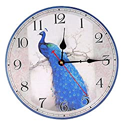 KI Store Silent Wall Clocks Decorative Peacock Clock Non Ticking Round Vintage12-Inch for Bedroom Living Room Wall Decor