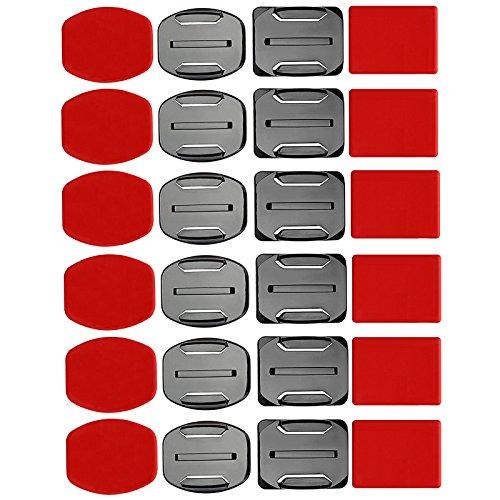 SHOOT Kit de Accesorios para el Casco 12x Soporte Superficie + 12x Adhesivos Pegatinas para GoPro Hero 8/7/6/5/4/3+/3 SJ4000 SJ5000 Cámaras de Acción