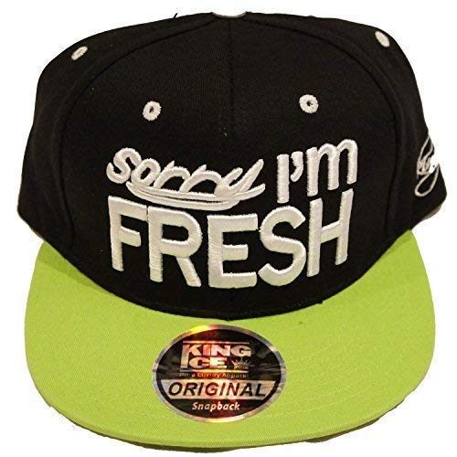 King Ice Sorry I'm Fresh Snapback Gorras, Super Star Piel de Serpiente Flat Peak Hip Hop Bling...