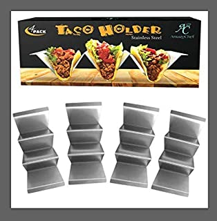 Taco Holders - Metal Taco Stand - 4 Pack Stainless Steel Taco Rack-Taco Tray For Serving-Best Way to Keep Your Tacos Upright for Easy and Mess-Free Filling
