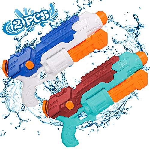 Juguetes para NiñOs De 3-8 AñOs 2 Pcs Pistola Agua con 830 Ml Super Power Water Gun Alcance Largo 10 Metros Piscina Playa Lanzador Y Adultos