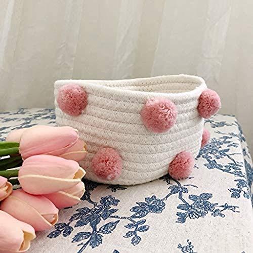 XYZMDJ Cestas de almacenamiento de cuerda de algodón con pompón ropa sucia lavandería niños juguete escritorio Sundries organizador cesta