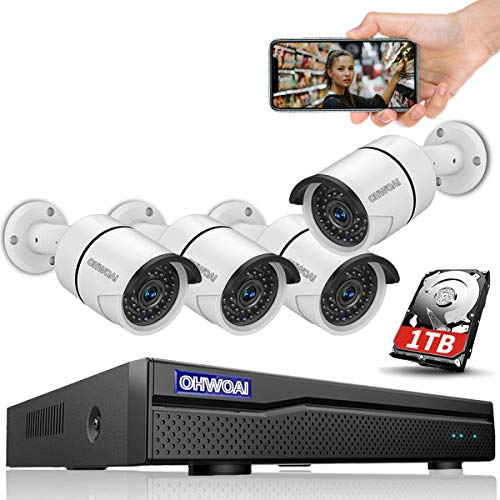 【5MP·New Version】 POE Security Camera System, 4K 8 Channel Poe NVR Camera System,5MP Poe Camera x 4,OHWOAI Home Video Surveillance System Poe with 1TB HDD,Wired Outdoor Poe Security Camera with Audio